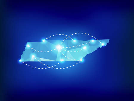 spot lights: Tennessee state map polygonal with spot lights places