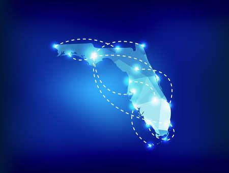 フロリダ州地図スポット ライトと多角形の場所します。