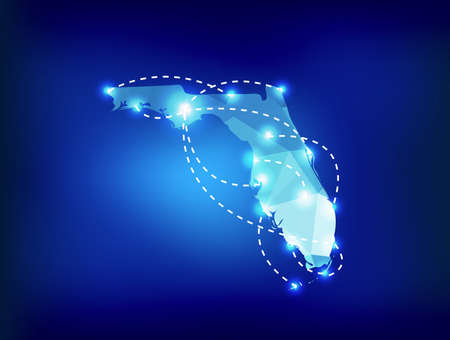 Florida state map polygonal with spot lights places