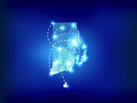island state: Rhode Island state map polygonal with spot lights places