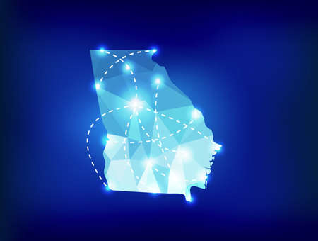 atlanta tourism: Georgia US state map polygonal with spot lights places