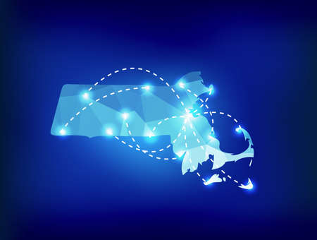 spot lights: Massachusetts state map polygonal with spot lights places