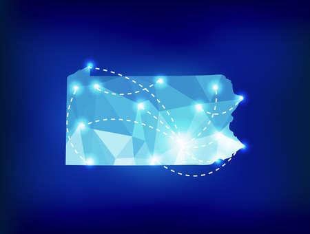 ペンシルベニア州地図スポット ライトと多角形の場所します。