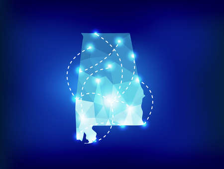 spot lights: Alabama state map polygonal with spot lights places Illustration