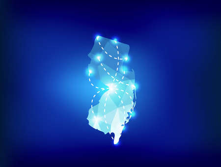 spot lights: New Jersey state map polygonal with spot lights places