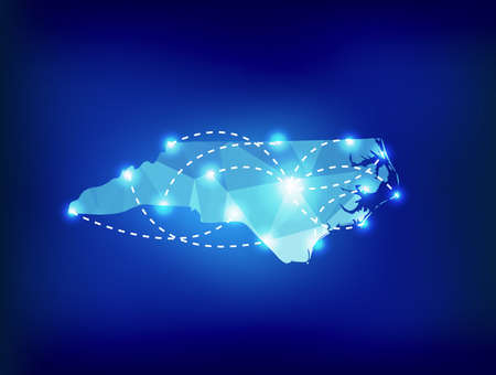 carolina: North Carolina state map polygonal with spot lights places