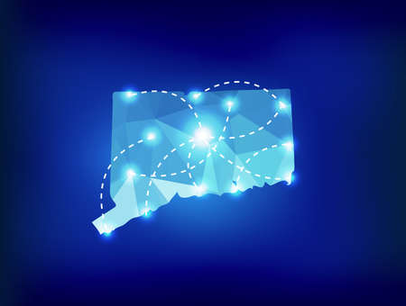 spot lights: Connecticut state map polygonal with spot lights places