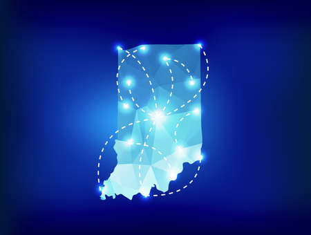 spot lights: Indiana state map polygonal with spot lights places Illustration