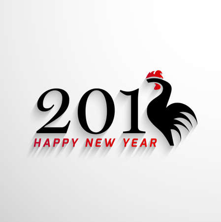 feathering: 2017 Happy New Year with creative rooster concept
