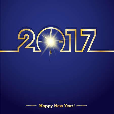 2017 Gelukkig Nieuwjaar met creatieve midnight klok