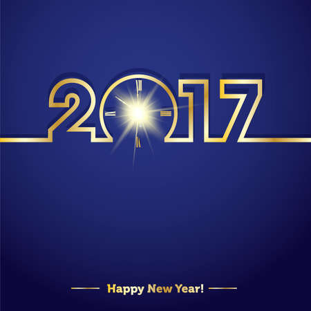 2017 Happy New Year with creative midnight clock Illustration