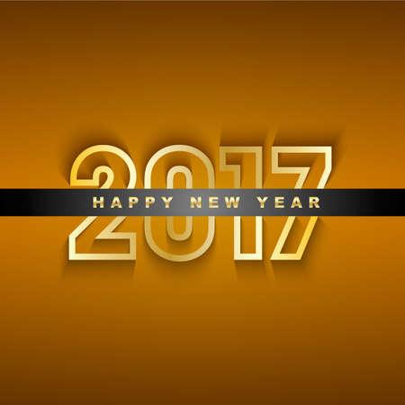 Golden 2017 Nieuwjaar wenskaart
