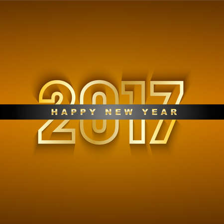 Golden 2017 New Year greeting card