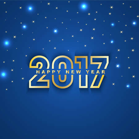 2017 New Year greeting card with stars and spot lights on blue  background