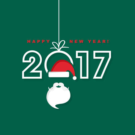 event: Happy New Year 2017 with Santa Claus hat and beard