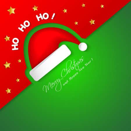 hat santa: Merry Christmas card with Santa hat