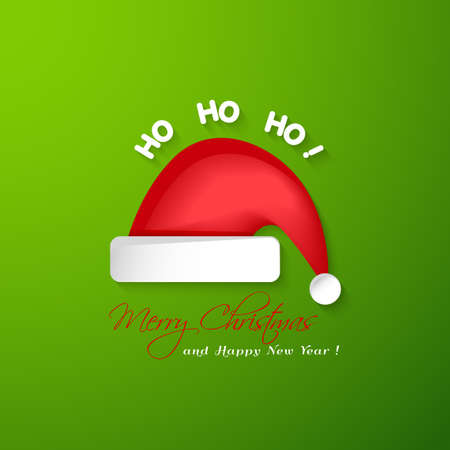 ho: Merry Christmas and Happy New Year greeting card.Santa Claus red hat