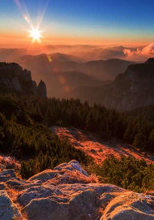 mystic: Sweet sunrise  sunset on the mountain Stock Photo