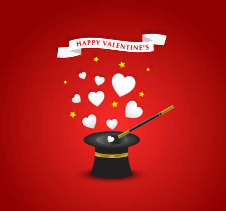 flying hat: Happy Valentines postcard with hearts coming out of the hat magician Illustration