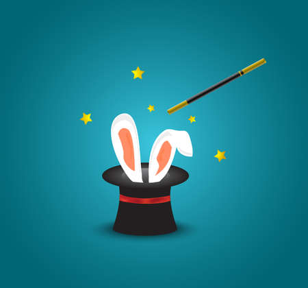 sparkle background: Magic hat with rabbit ears.Magic trick with rabbit ears appear from the magic top hat