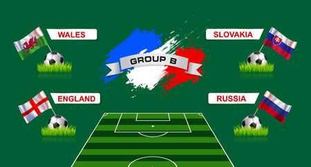 banni�re football: France Groupe B Championnat de soccer avec des drapeaux de pays europ�ens participant au tournoi final