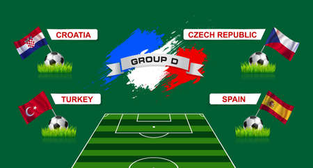 elimination: France Group D Soccer Championship with flags of european countries participating to the final tournament