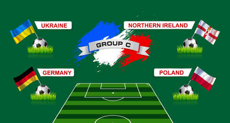 France Group C Soccer Championship with flags of european countries participating to the final tournament Illustration