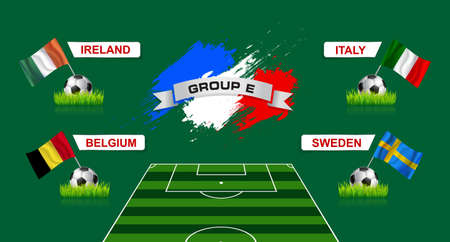elimination: France Group E Soccer Championship with flags of european countries participating to the final tournament