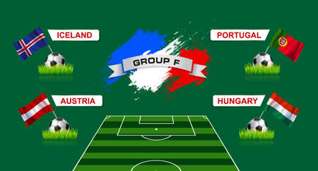 european countries: France Group F Soccer Championship with flags of european countries participating to the final tournament