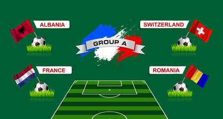 soccer field: France Group A Soccer Championship with flags of european countries participating to the final tournament