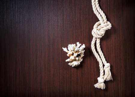 burl wood: Rope with white coral on wood table