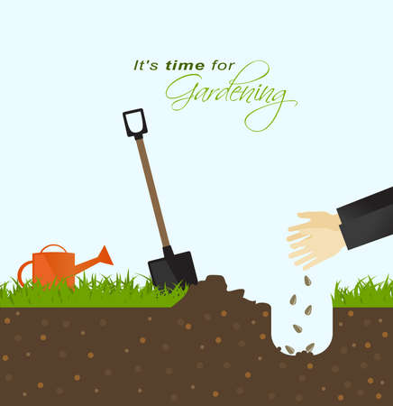 germination: It is time for gardening.Person putting seeds in the ground with spade and watering can in field Illustration