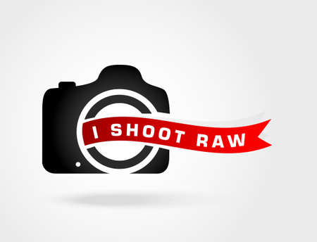 photoshoot: I shoot Raw.Love photo.Shoot Raw photo format.Concept icon for photography enthusiasts Illustration