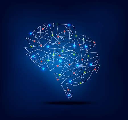 actividad: resumen gráfico de la actividad cerebral con la traza y las luces del punto