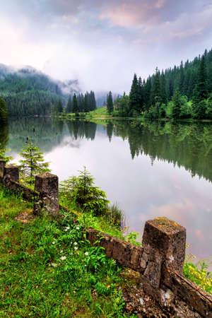 red mountain: Mountain lake.The Red Lake on Romania