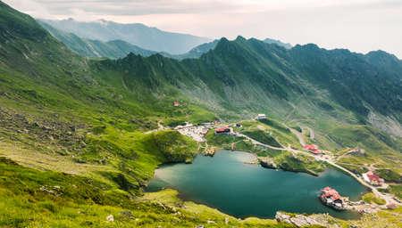 Top view of Balea Lake in Romania