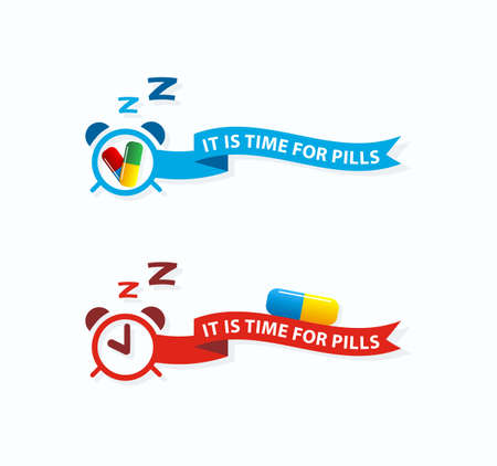 not forget: It is time for pills.Take pills label,icon concept.Do not forget pills.