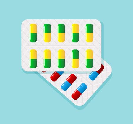 Pills in blister pack.Tablets in blister pack.Tablet pills medical drug pharmacy.Capsule packaging Illustration