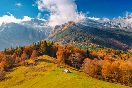 Landscape with the end of fall and beginning of winter in mountains Carpathians