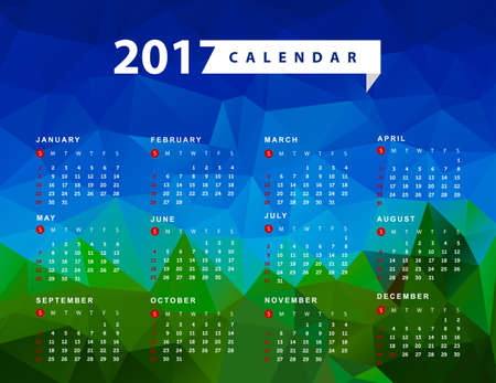 yearly: Simple calendar for 2017 year. Week starts from Sunday Illustration