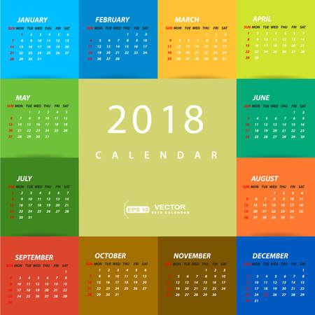 2018 veelkleurige kalendersjabloon
