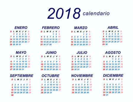 2018 Spanish Calendar Illustration