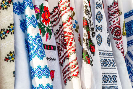 Detail of colored ie, Romanian traditional costume