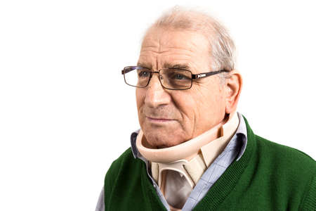 Old man with a surgical cervical collar. Portret of old man