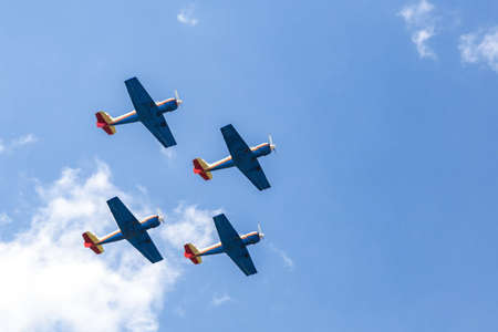 Formation of four planes in the air Stock Photo