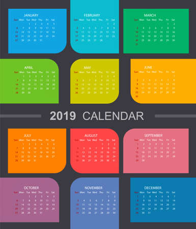 Colorful calendar 2019. Week starts on Sunday. Vectores