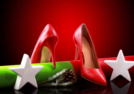 Pair of Red heel shoes and Christmas.