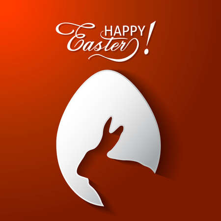 Happy Easter greeting card with egg , rabbit. Easter Bunny concept greeting card