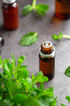 Essential oil from mint leaf, Bottles with aromatherapy and mint leaf