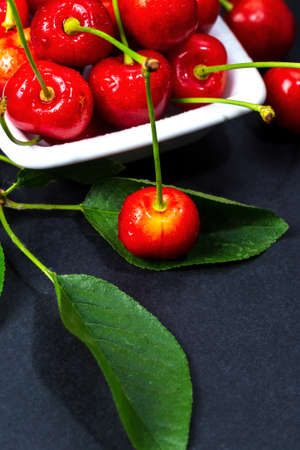 Fresh cherries with leaves